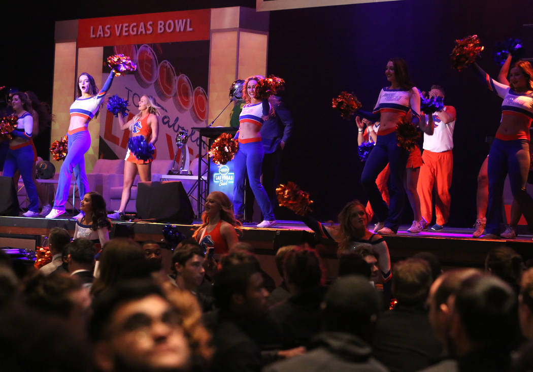 The Boise State Marching Band perform during a Las Vegas Bowl luncheon at the Hard Rock hotel-casino on Friday, Dec. 15, 2017, in Las Vegas. Bizuayehu Tesfaye Las Vegas Review-Journal @bizutesfaye