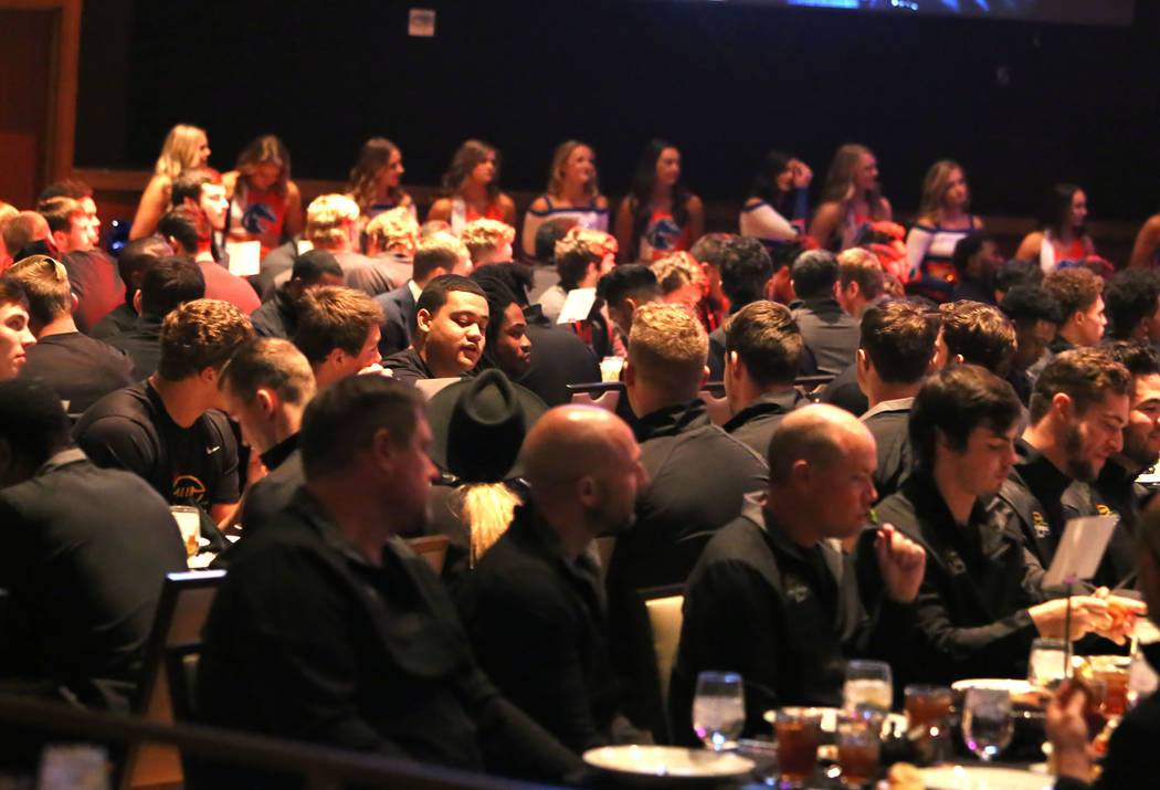 Boise State football players during a Las Vegas Bowl luncheon at the Hard Rock hotel-casino on Friday, Dec. 15, 2017, in Las Vegas. Bizuayehu Tesfaye Las Vegas Review-Journal @bizutesfaye