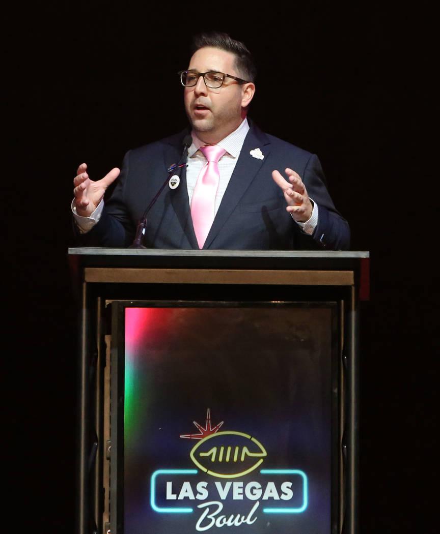 Las Vegas Bowl Executive Director John Saccenti speaks during a Las Vegas Bowl luncheon at the Hard Rock hotel-casino on Friday, Dec. 15, 2017, in Las Vegas. Bizuayehu Tesfaye Las Vegas Review-Jou ...