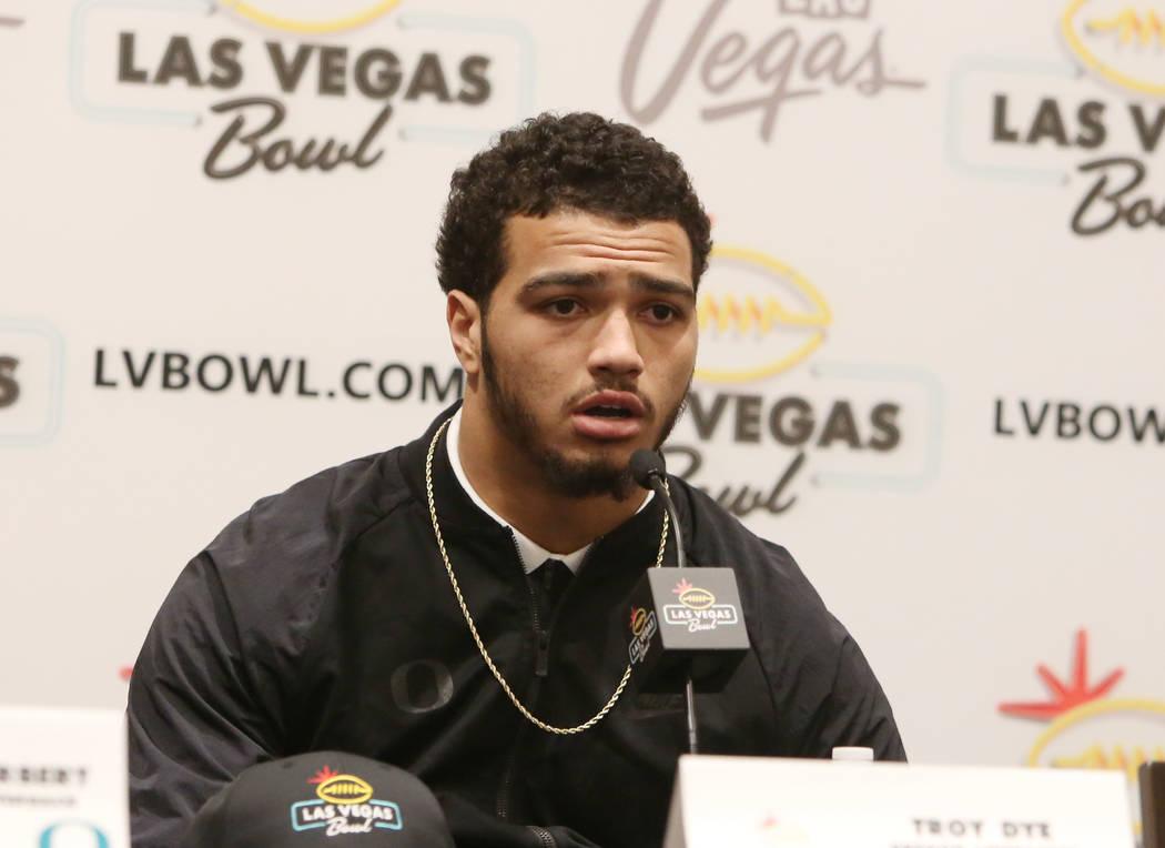 Oregon linebacker Troy Dye speaks during a Las Vegas Bowl press conference at the Hard Rock hotel-casino on Friday, Dec. 15, 2017, in Las Vegas. Bizuayehu Tesfaye Las Vegas Review-Journal @bizutesfaye