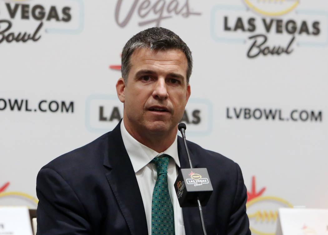 The University of Oregon head coach Mario Cristobal speaks during a Las Vegas Bowl press conference at the Hard Rock hotel-casino on Friday, Dec. 15, 2017, in Las Vegas. Bizuayehu Tesfaye Las Vega ...