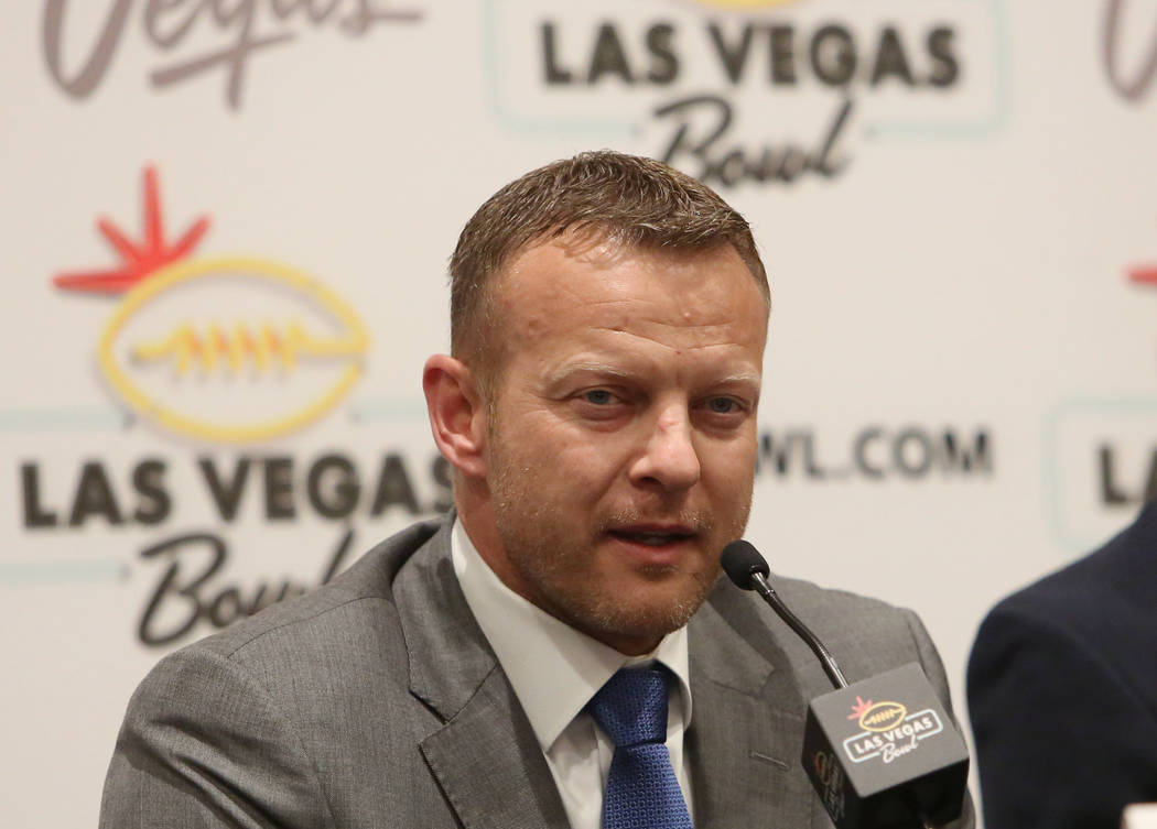 tBoise State head coach Bryan Harsin speaks during a Las Vegas Bowl press conference at the Hard Rock hotel-casino on Friday, Dec. 15, 2017, in Las Vegas. Bizuayehu Tesfaye Las Vegas Review-Journa ...