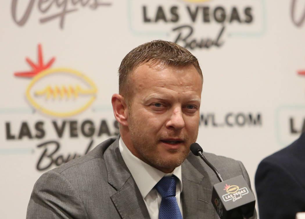 tBoise State head coach Bryan Harsin speaks during a Las Vegas Bowl press conference at the Hard Rock hotel-casino on Friday, Dec. 15, 2017, in Las Vegas. Bizuayehu Tesfaye Las Vegas Review-Journa ...