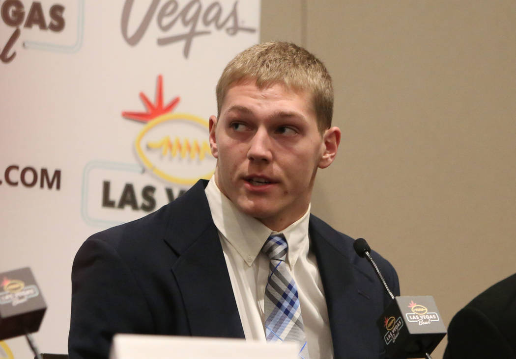 Boise State Broncos linebacker Vander Esch speaks during a Las Vegas Bowl press conference at the Hard Rock hotel-casino on Friday, Dec. 15, 2017, in Las Vegas. Bizuayehu Tesfaye Las Vegas Review- ...