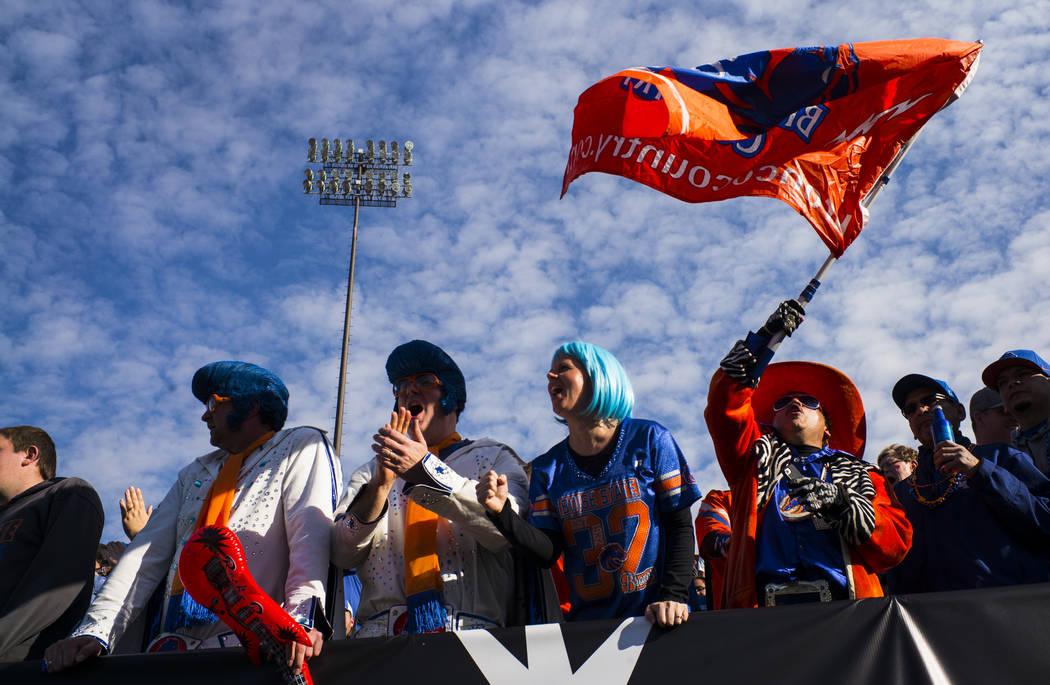 Boise State fans cheer as their team plays Oregon during the Las Vegas Bowl at Sam Boyd Stadium in Las Vegas on Saturday, Dec. 16, 2017. Chase Stevens Las Vegas Review-Journal @csstevensphoto