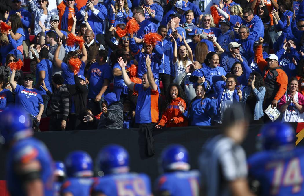 Boise State fans celebrate a touchdown by Cedrick Wilson (1) during the Las Vegas Bowl game against Oregon at Sam Boyd Stadium in Las Vegas on Saturday, Dec. 16, 2017. Chase Stevens Las Vegas Revi ...
