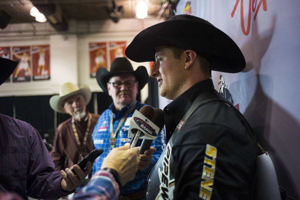 Jake Vold of Alberta, Canada after competing in the bareback riding during the opening night of the National Finals Rodeo at the Thomas & Mack Center in Las Vegas on Thursday, Dec. 7, 2017. Vo ...