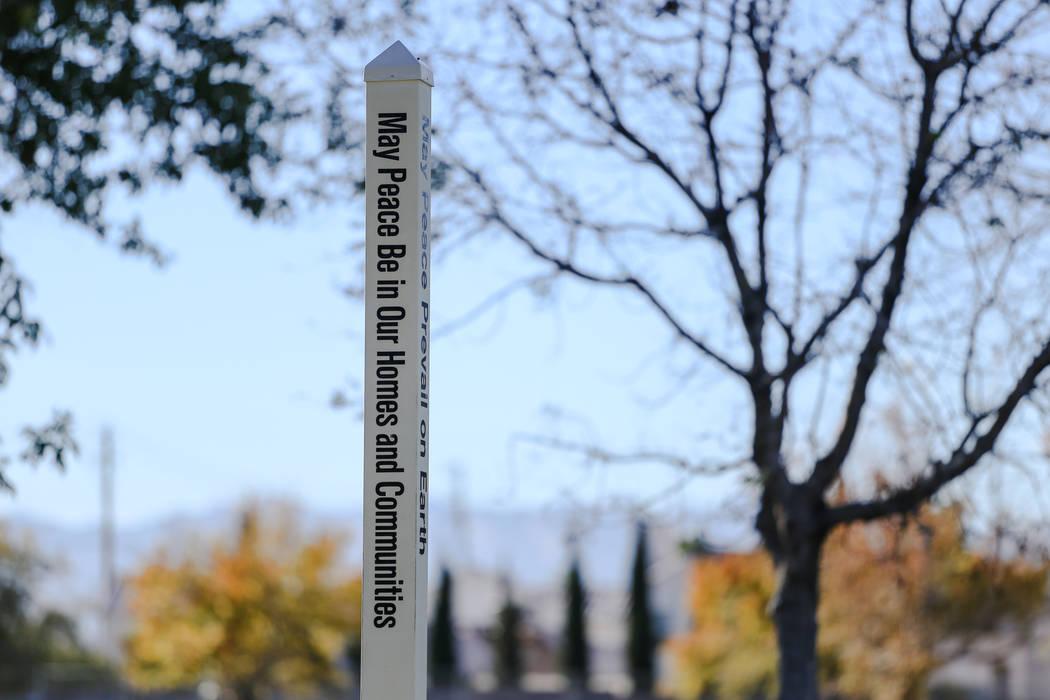 A peace pole at Woofter Family Park in Las Vegas, Friday, Dec. 8, 2017. Joel Angel Juarez Las Vegas Review-Journal @jajuarezphoto