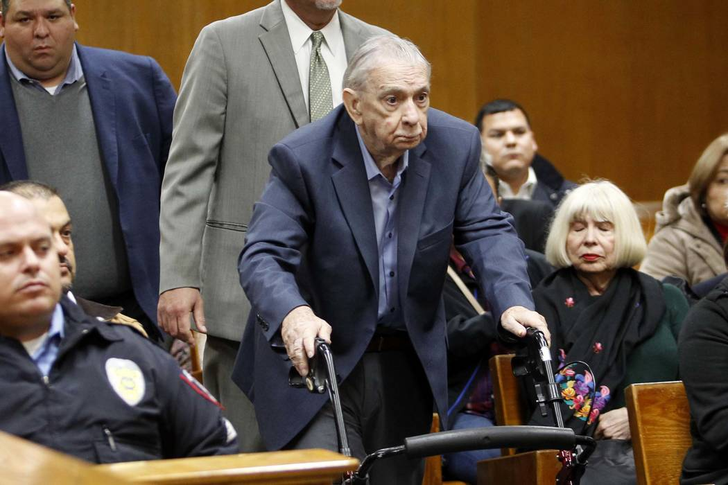 John Feit enters the 92nd state District Court before the verdict was read in his trial for the 1960 murder of Irene Garza Thursday, Dec. 7, 2017, at the Hidalgo County Courthouse in Edinburg, Tex ...