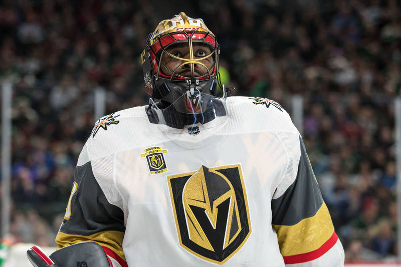 Nov 30, 2017; Saint Paul, MN, USA; Vegas Golden Knights goalie Malcolm Subban (30) looks on during the second period against the Minnesota Wild at Xcel Energy Center. Mandatory Credit: Brace Hemme ...