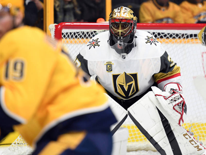 Dec 8, 2017; Nashville, TN, USA; Vegas Golden Knights goalie Malcolm Subban (30) looks on during the first period against the Nashville Predators at Bridgestone Arena. Mandatory Credit: Christophe ...