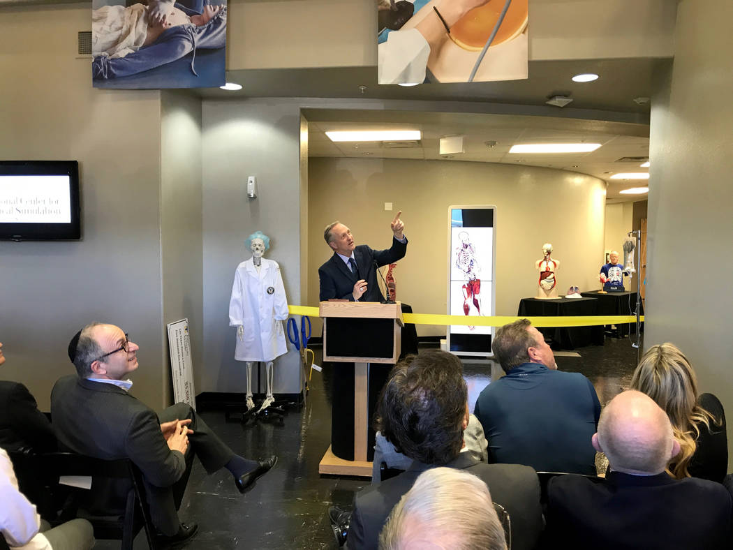 Dr. John Dougherty, dean of the college of osteopathic medicine at Touro University in Henderson, speaks about the school's new disaster life support center during the grand opening on Monday, Dec ...