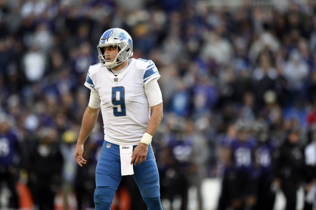 Detroit Lions quarterback Matthew Stafford walks off the field after being sacked in the first half of an NFL football game against the Baltimore Ravens, Sunday, Dec. 3, 2017, in Baltimore. (AP Ph ...
