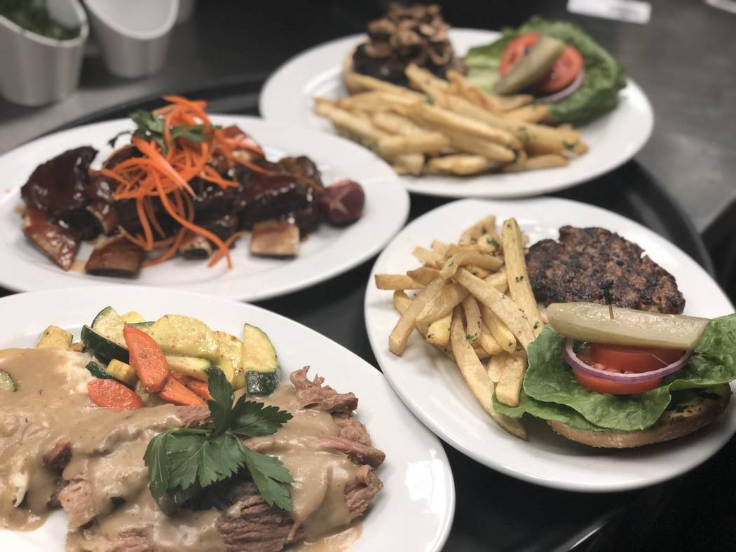 Several entrees at Ace of Steaks including barbecue beef ribs (top left, $42) and Ace's half-pound beef burgers (top and far right, $18). (Courtesy Ace of Steaks)