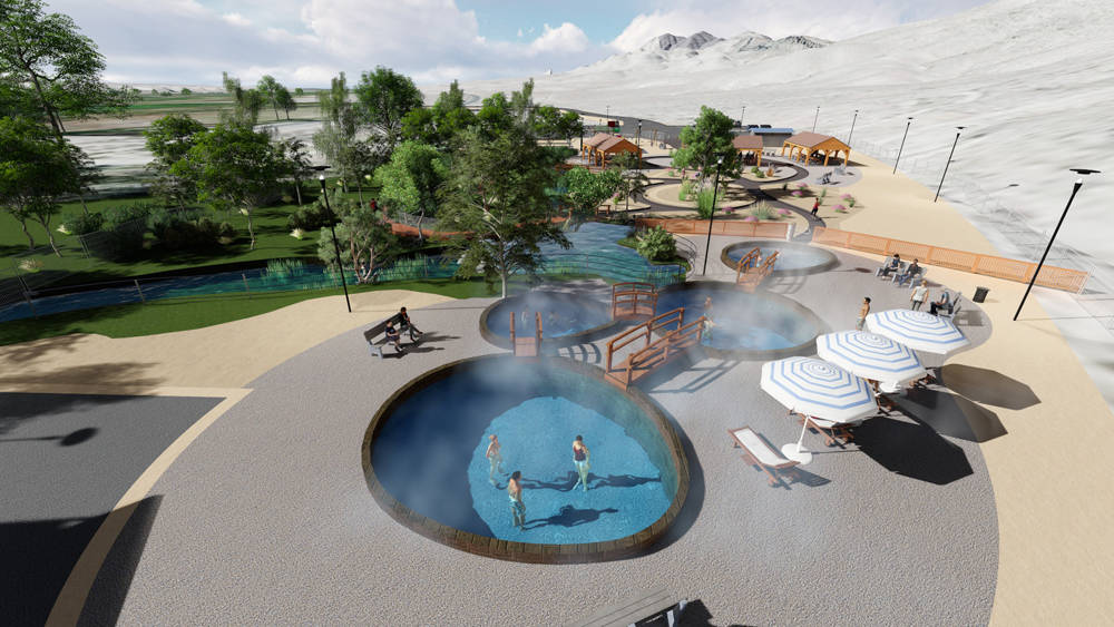 An artist's rendering shows development plans for Ash Springs, about 100 miles north of Las Vegas. This option is among several being considered for the site, which was closed by the Bureau of Lan ...