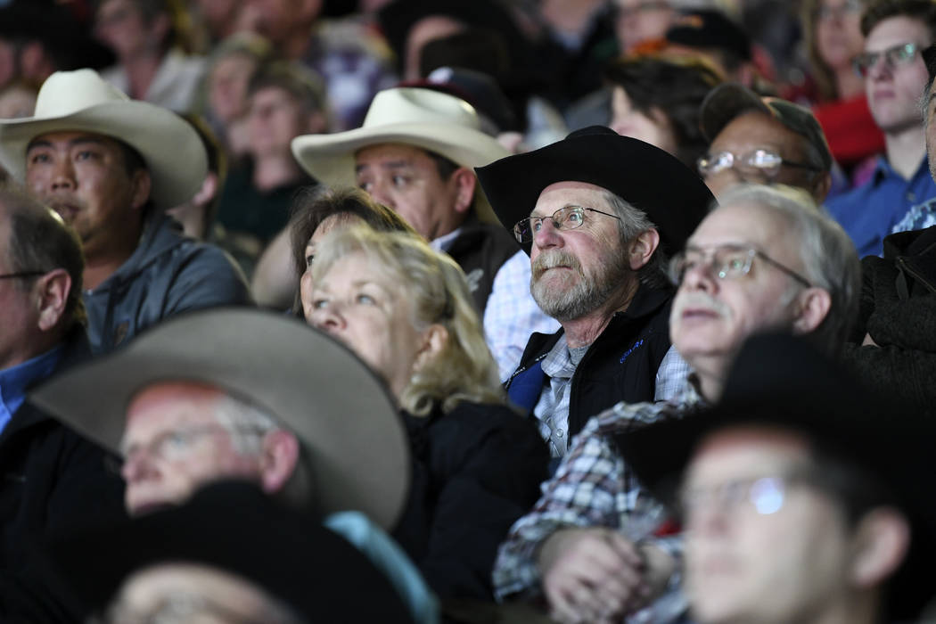 Rodeo fans watch the action during the first go-round of the National Finals Rodeo Thursday, December 7, 2017, at the Thomas & Mack Center in Las Vegas. Sam Morris/Las Vegas News Bureau