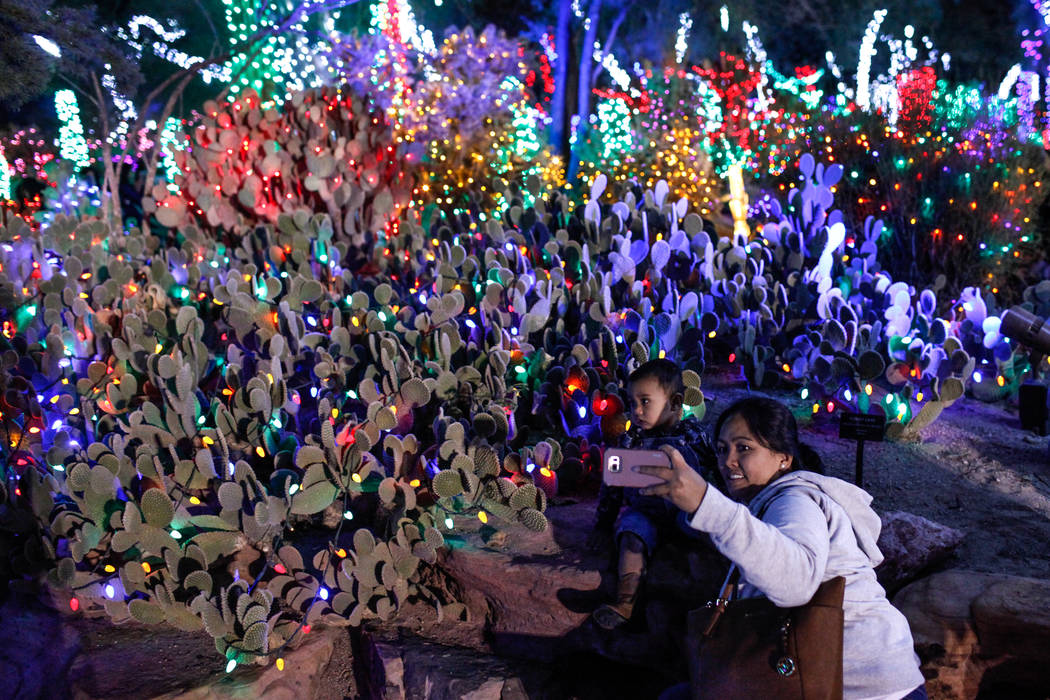 Maria Morales of Las Vegas, 36, right, takes a photo with her son Noah, 1, left, during the 24th Annual Holiday Cactus Garden in Henderson, Tuesday, Nov. 7, 2017. Joel Angel Juarez Las Vegas Revie ...