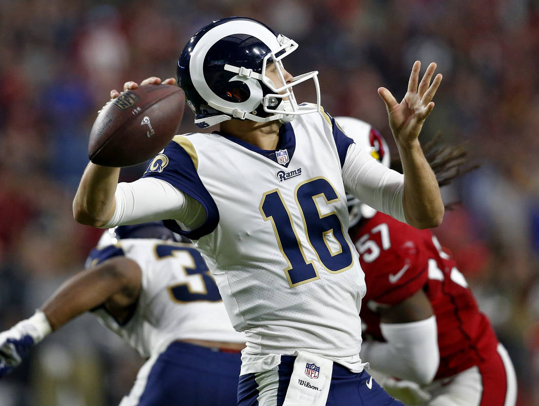 Los Angeles Rams quarterback Jared Goff (16) throws against the Arizona Cardinals during the first half of an NFL football game, Sunday, Dec. 3, 2017, in Glendale, Ariz. (AP Photo/Ross D. Franklin)