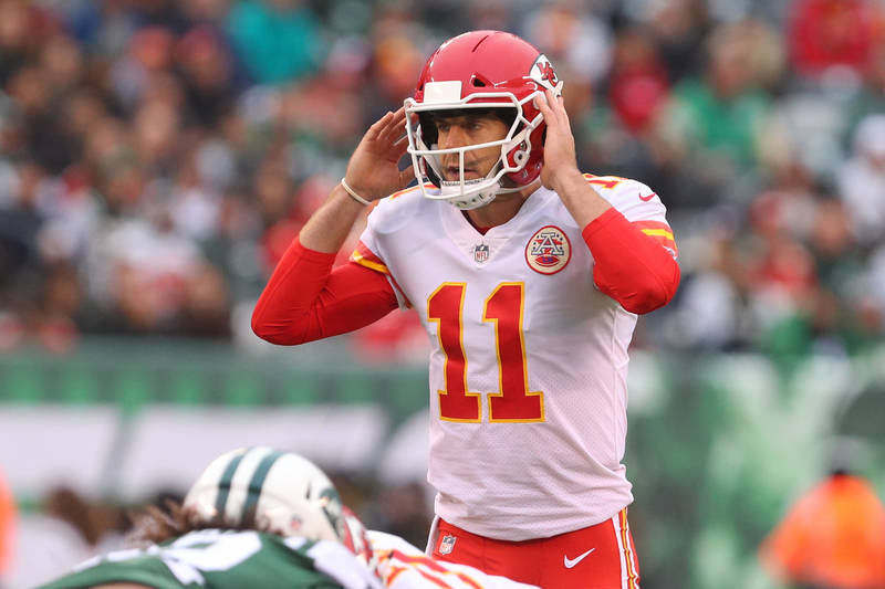 Dec 3, 2017; East Rutherford, NJ, USA; Kansas City Chiefs quarterback Alex Smith (11) calls a play during the first half against the New York Jets at MetLife Stadium. Mandatory Credit: Ed Mulholla ...