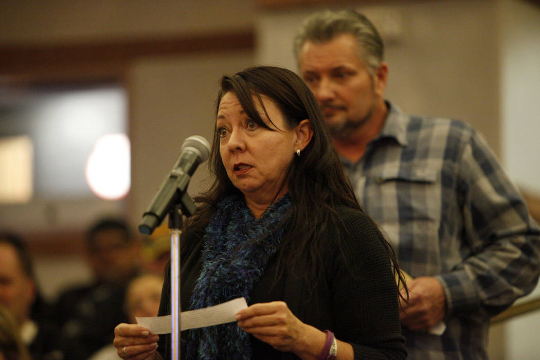 Yvonne Justice, a Route 91 Harvest festival survivor, speaks to the Las Vegas Victims Fund committee at the Clark County Government Center in Las Vegas, Tuesday, Nov. 28, 2017. It was the second t ...