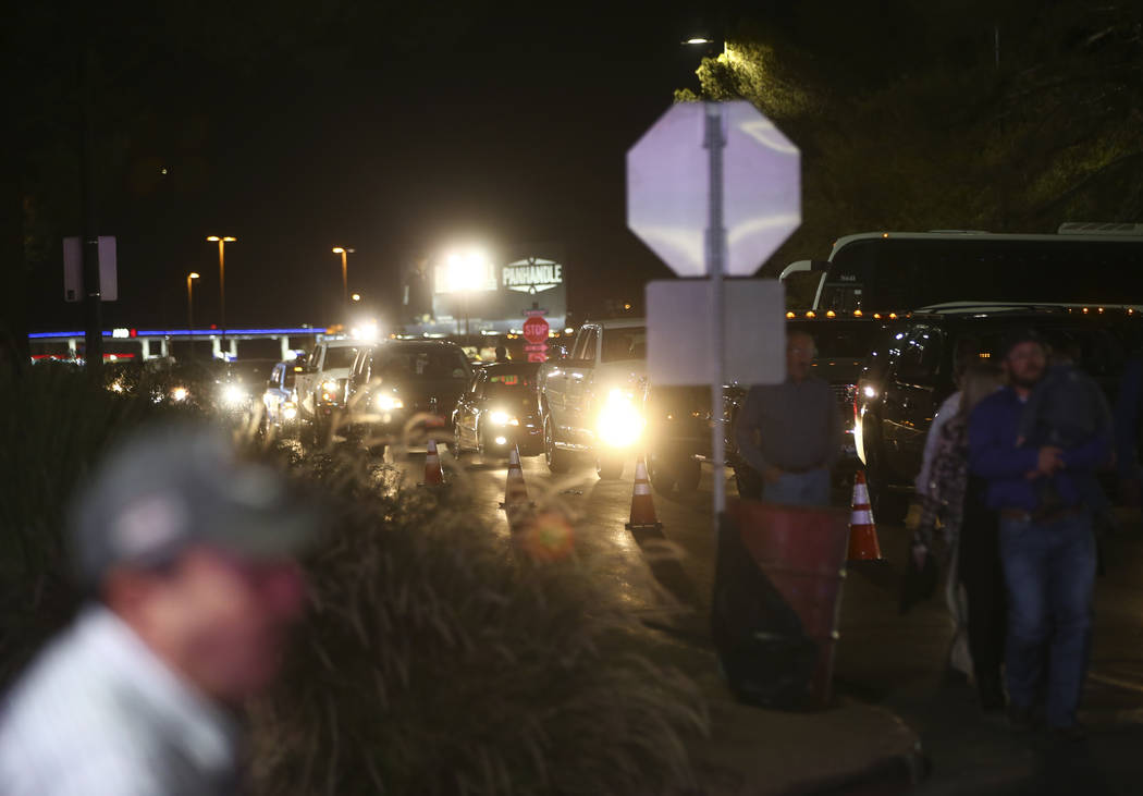 Traffic backs up as attendees arrive for the second night of the National Finals Rodeo at the Thomas & Mack Center in Las Vegas on Friday, Dec. 8, 2017. Chase Stevens Las Vegas Review-Journal  ...