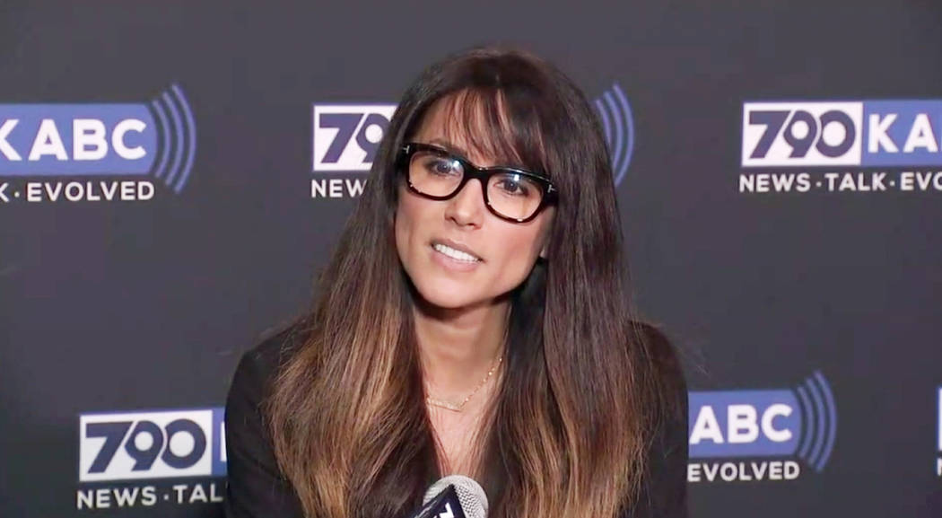 In this still image taken from video provided by KABC-TV, Los Angeles radio anchor Leeann Tweeden discusses her allegations of sexual harassment by Al Franken during a 2006 overseas USO tour, befo ...