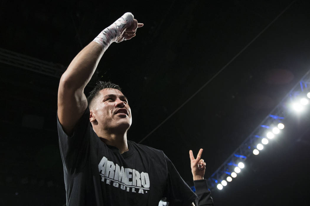 Miguel Roman celebrates histechnical knockoutwin against Orlando Salido in the super featherweight boxing bout at the Mandalay Bay Events Center in Las Vegas, Saturday, Dec. 9, 2017. E ...