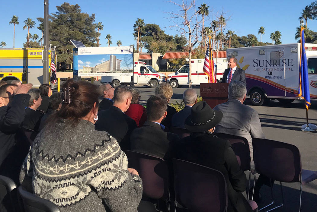 Sunrise Hospital and Medical Center CEO Todd Sklamberg addressed hospital staff and state and local representatives at a groundbreaking ceremony Friday, Dec. 8, 2017. (Jessie Bekker/Las Vegas Revi ...