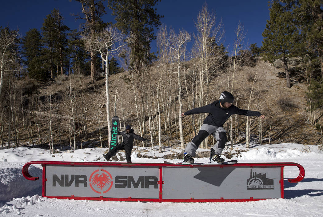 Matt Behl, 33, hits a rail on the bunny hill on Friday afternoon, Dec. 8, 2017,  at Lee Canyon opening day. Richard Brian Las Vegas Review-Journal @vegasphotograph