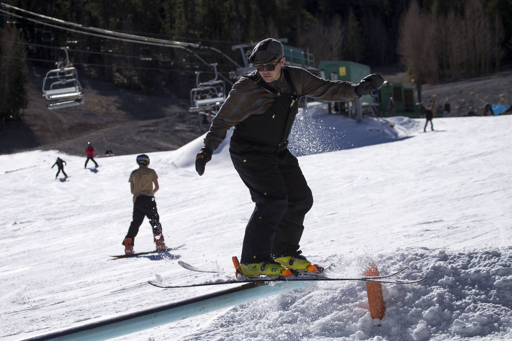 A skier hits a rail on the bunny hill on Friday afternoon, Dec. 8, 2017, at Lee Canyon opening day. Richard Brian Las Vegas Review-Journal @vegasphotograph