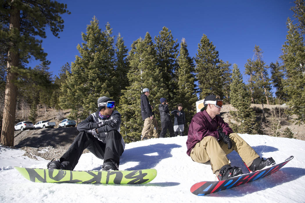 Snowboarder Snowboarder Ben Kahbir, left, Joey Salde prepare to take a ride on the bunny hill on Friday afternoon, Dec. 8, 2017, at Lee Canyon opening day. Richard Brian Las Vegas Review-Journal @ ...