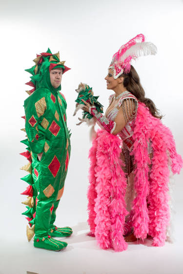 Jade Simone performs with Piff the Magic Dragon at the Flamingo. (Caesars Entertainment)