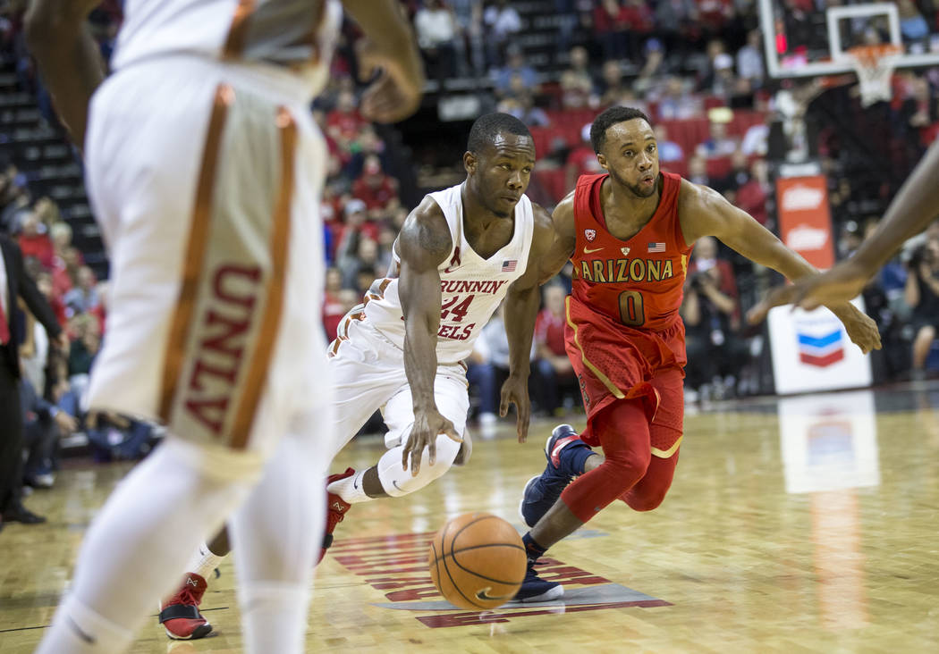 UNLV Rebels guard Jordan Johnson (24) drives the ball against Arizona Wildcats guard Parker Jackson-Cartwright (0) during the second half of an NCAA college basketball game at Thomas & Mack Ce ...