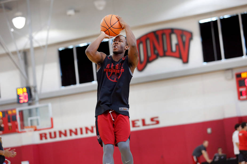 UNLV basketball player Jordan Johnson shoots the ball in the hoop during their practice at the Mendenhall Center in Las Vegas, Saturday, Sept. 30, 2017. Chitose Suzuki Las Vegas Review-Journal @ch ...