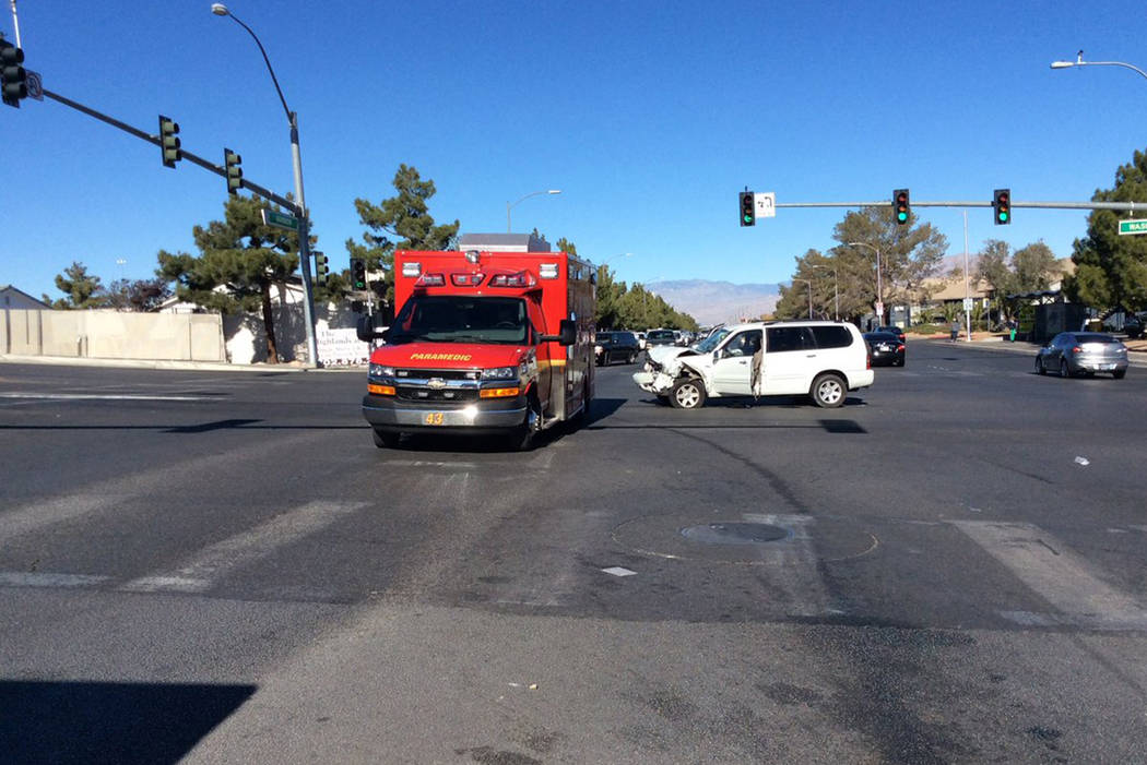 Two people were taken to a hospital after a car crashed head-on into a city bus on in the central valley, Las Vegas fire officials tweeted Saturday. (Las Vegas Fire Rescue/Twitter)