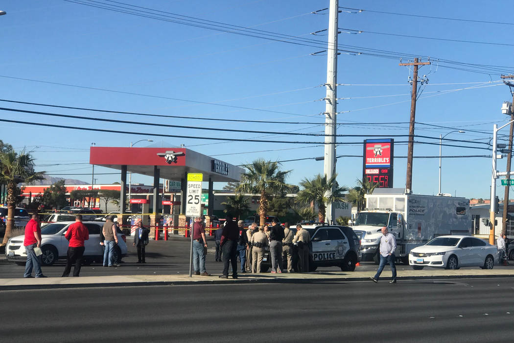 Las Vegas police investigate an officer-involved shooting near Vegas Drive and North Decatur Boulevard on Saturday, Dec. 9. Todd Prince Las Vegas Review-Journal