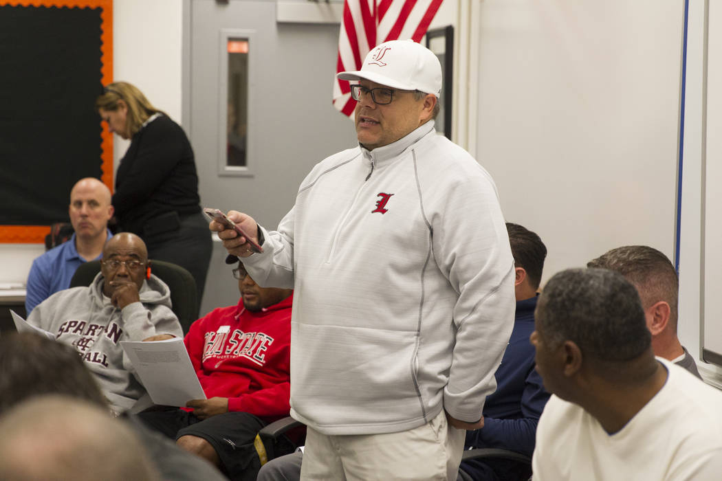 Rich Muraco, head coach for the Liberty School football team, during a Nevada Interscholastic Activities Association realignment committee meeting at Chaparral High School in Las Vegas, Thursday,  ...