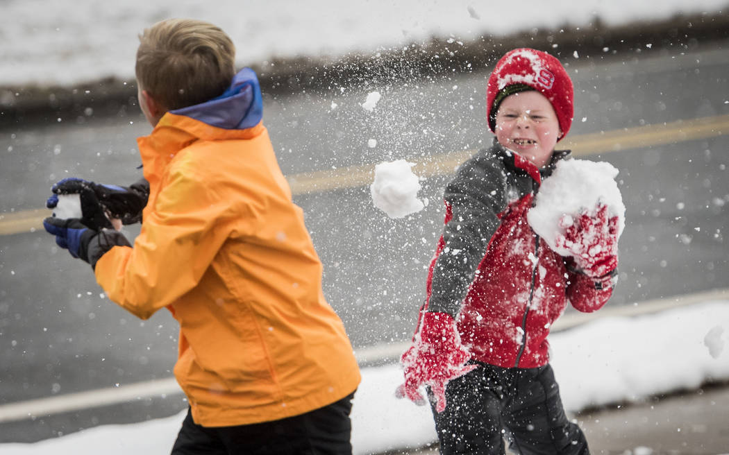 Collin Patterson, 12, left, and Nash Dillard, 7, throw snowballs at each other, Saturday, Dec. 9, 2017 in Winston-Salem, N.C. (Andrew Dye/The Winston-Salem Journal via AP)
