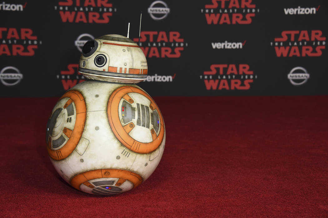 """BB-8 arrives at the Los Angeles premiere of """"Star Wars: The Last Jedi"""" at the Shrine Auditorium on Saturday, Dec. 9, 2017, in Los Angeles. (Photo by Jordan Strauss/Invision/AP)"""