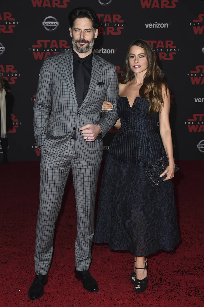 """Joe Manganiello and Sofia Vergara arrive at the Los Angeles premiere of """"Star Wars: The Last Jedi"""" at the Shrine Auditorium on Saturday, Dec. 9, 2017, in Los Angeles. (Photo by J ..."""