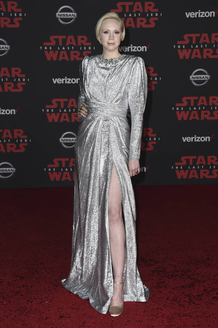 """Gwendoline Christie arrives at the Los Angeles premiere of """"Star Wars: The Last Jedi"""" at the Shrine Auditorium on Saturday, Dec. 9, 2017 in Los Angeles. (Photo by Jordan Strauss/ ..."""