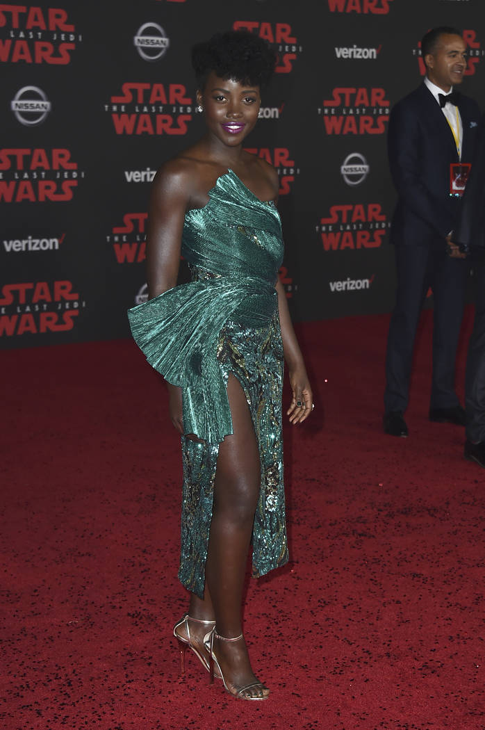 """Lupita Nyong'o arrives at the Los Angeles premiere of """"Star Wars: The Last Jedi"""" at the Shrine Auditorium on Saturday, Dec. 9, 2017, in Los Angeles. (Photo by Jordan Strauss/Invi ..."""
