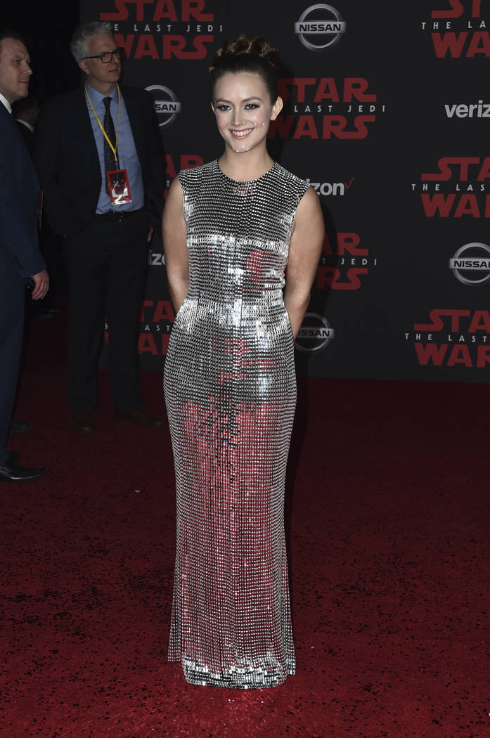 """Billie Lourd arrives at the Los Angeles premiere of """"Star Wars: The Last Jedi"""" at the Shrine Auditorium on Saturday, Dec. 9, 2017, in Los Angeles. (Photo by Jordan Strauss/Invisi ..."""