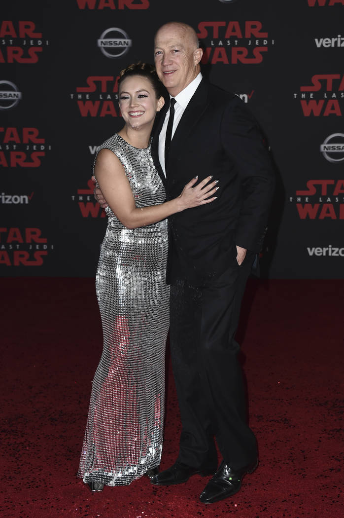 """Billie Lourd and Bryan Lourd arrive at the Los Angeles premiere of """"Star Wars: The Last Jedi"""" at the Shrine Auditorium on Saturday, Dec. 9, 2017, in Los Angeles. (Photo by Jordan ..."""