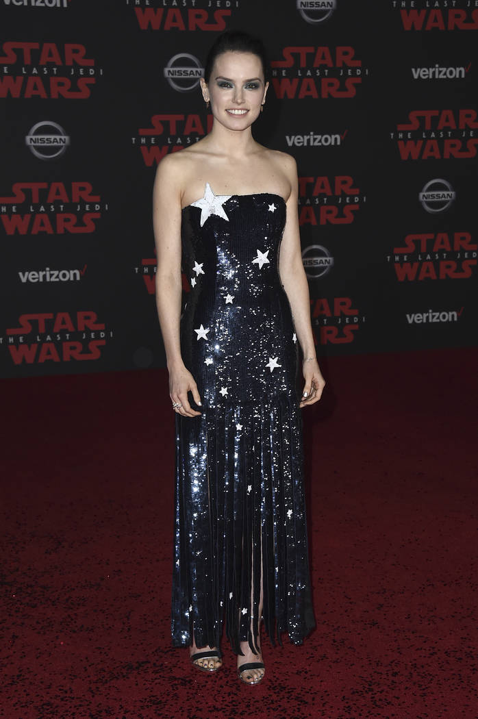 """Daisy Ridley arrives at the Los Angeles premiere of """"Star Wars: The Last Jedi"""" at the Shrine Auditorium on Saturday, Dec. 9, 2017 in Los Angeles. (Photo by Jordan Strauss/Invisio ..."""