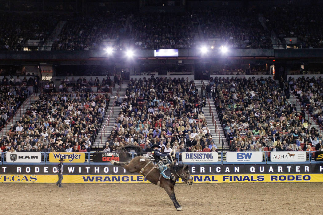 Brody Cress of Hillsdale, Wyo., rides Manhatten Moon in the saddle bronc riding event during the third night of the 59th Wrangler National Finals Rodeo at the Thomas & Mack Center in Las Vegas ...