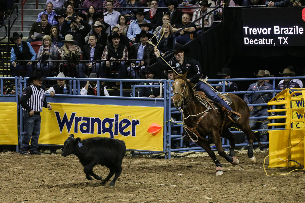 Trevor Brazile of Decatur, Texas chases a steer in the tie-down roping event during the third night of the 59th Wrangler National Finals Rodeo at the Thomas & Mack Center in Las Vegas, Saturda ...