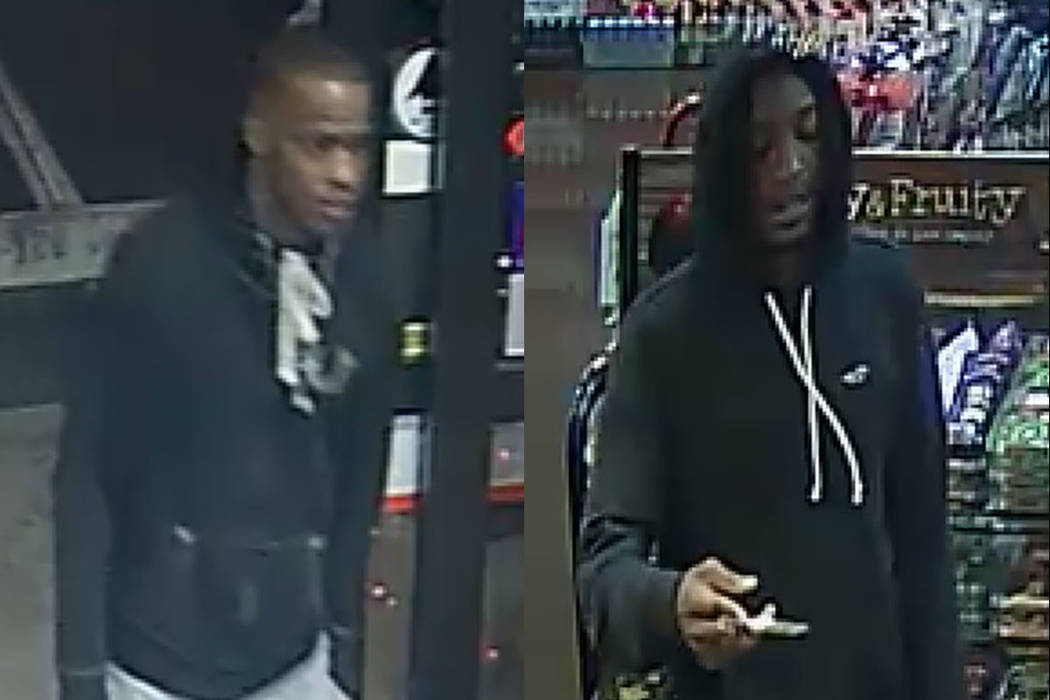 These two men are wanted for questioning in the fatal shooting of an 18-year-old woman. (North Las Vegas Police Department)