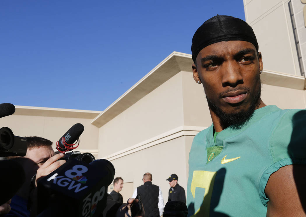 Oregon Ducks cornerback Tyree Robinson (2) speaks to reporters before a football practice at Bishop Gorman High School in Las Vegas, Thursday, Dec. 14, 2017. Oregon Ducks will meet Boise State Bro ...