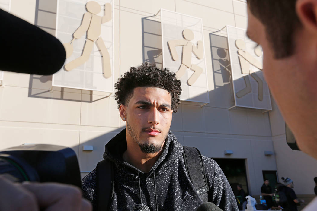 Oregon Ducks defensive lineman Jalen Jelks (97) speaks to reporters before a football practice at Bishop Gorman High School in Las Vegas, Thursday, Dec. 14, 2017. Oregon Ducks will meet Boise Stat ...